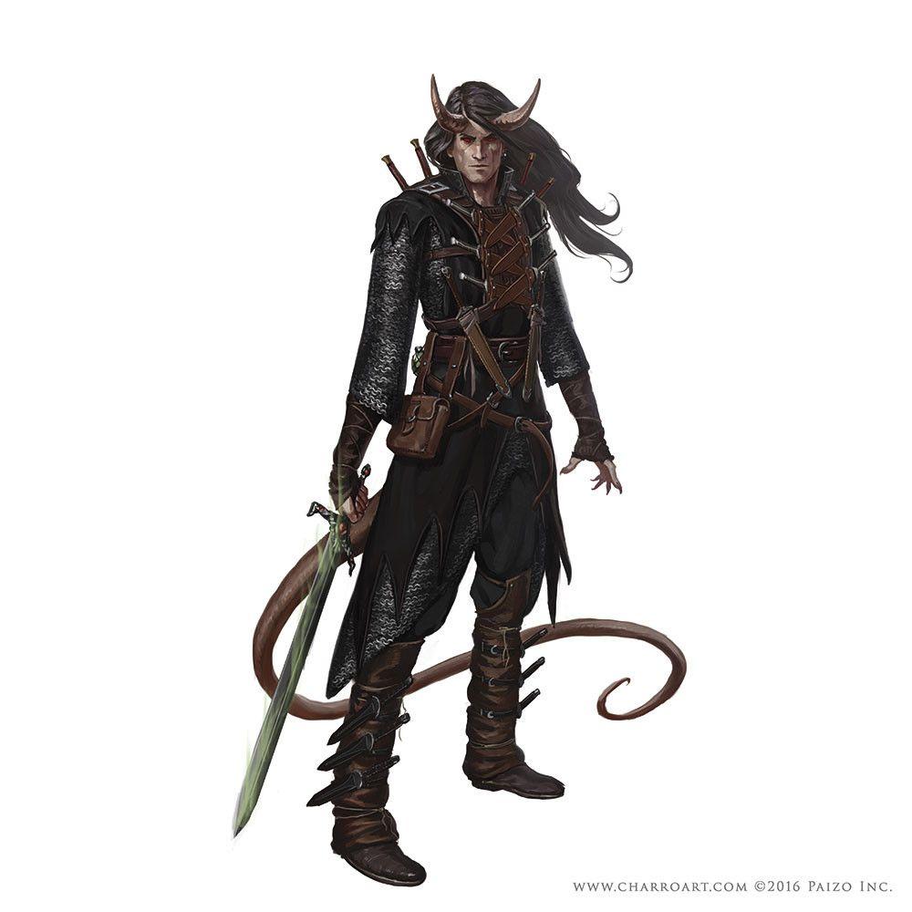 m Tiefling Ranger Med Armor Sword midlvl ArtStation