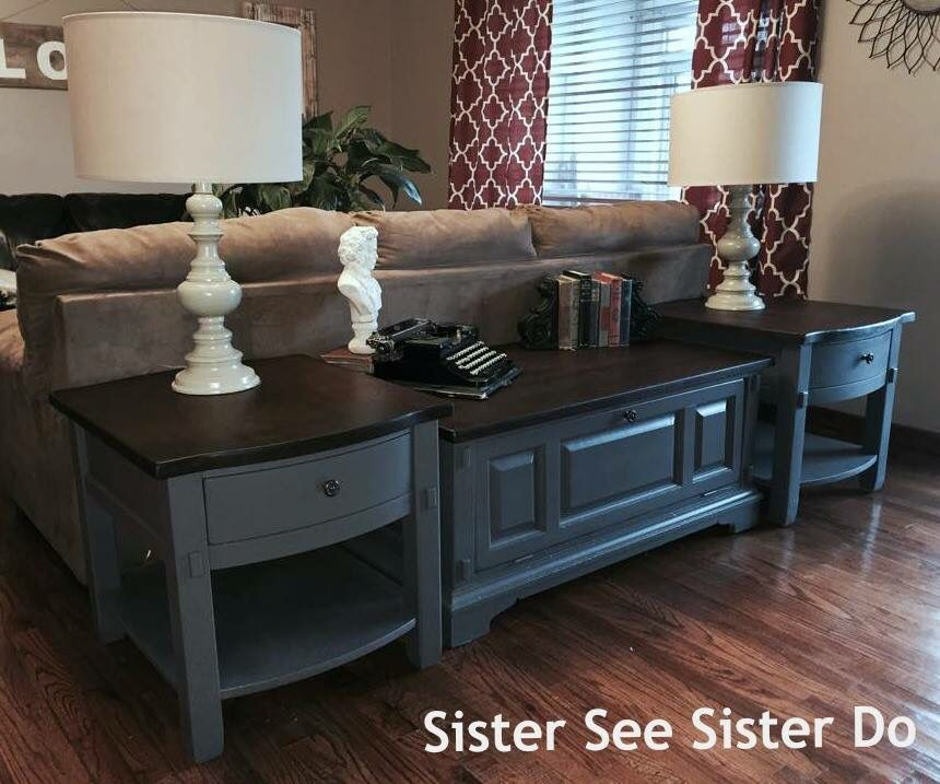 Golden Oak Coffee Table End Tables Makeover With Java Gel And Painted Gray