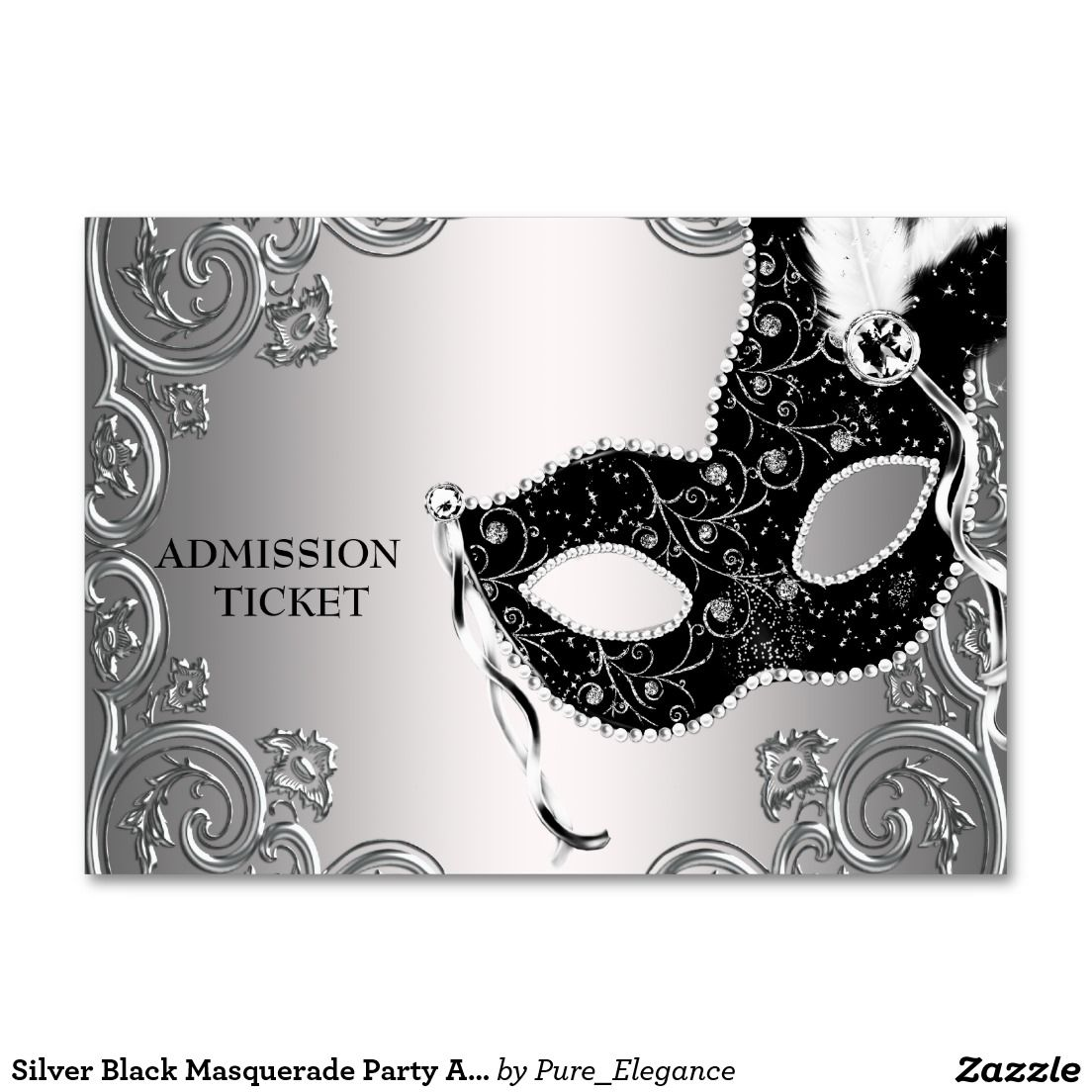 Silver Black Masquerade Party Admission Tickets | Admission ticket ...