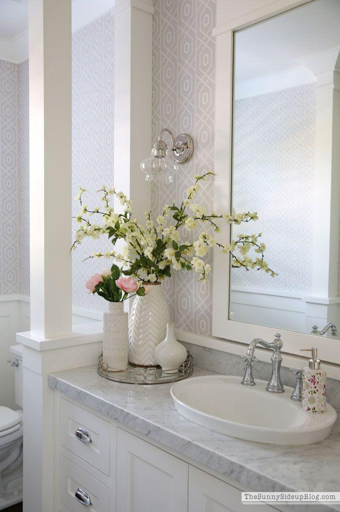 powder bathroom - summer decor | decor, faux flowers, outdoor pool furniture