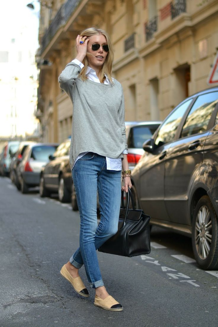 Jeans white shirt grey sweater | FAshion | Pinterest | White ...