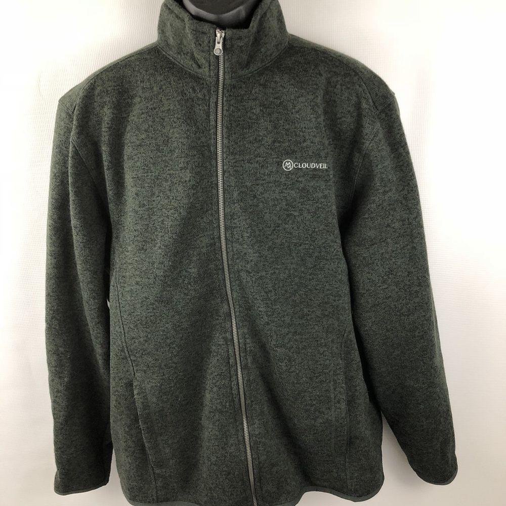 Cloudveil fleece jacket mens size xl full zip heather green layer