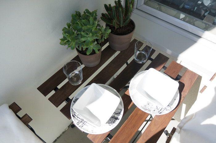 """My balcony, Stockholm. Table & chair-set from IKEA """"Tärnö"""", 30€."""