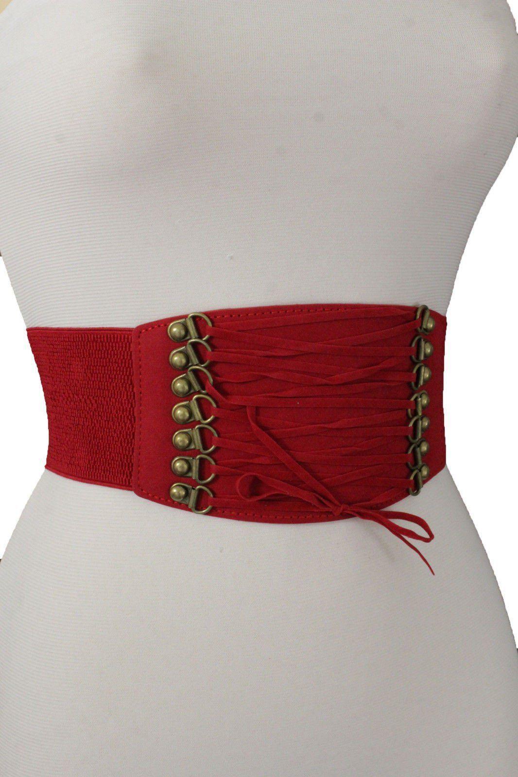 Hot Women Wide Red Faux Leather Elastic Fashion Belt Fancy Gold Metal Buckle S M