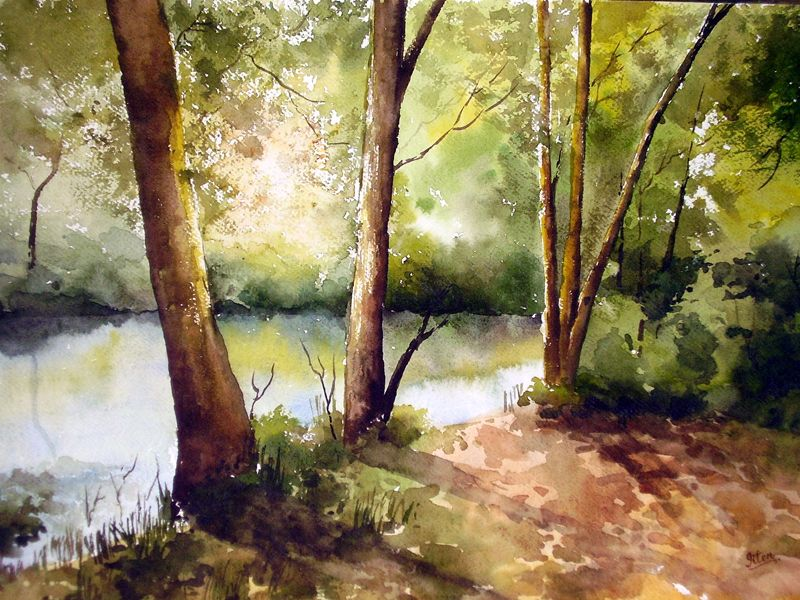 Indian Artist Jitendra Sule S Watercolour Paintings Sunrise In Forest Forest Painting Watercolor Landscape Indian Artist