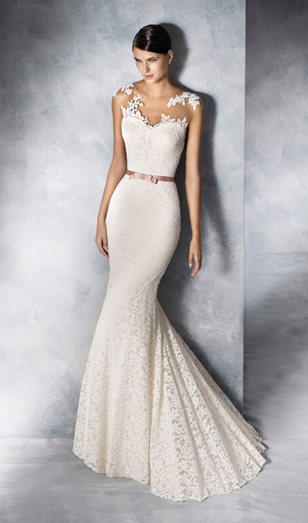 Try This Lace Crystal Tulle Sheath Wedding Dress With Illusion Neckline And Back