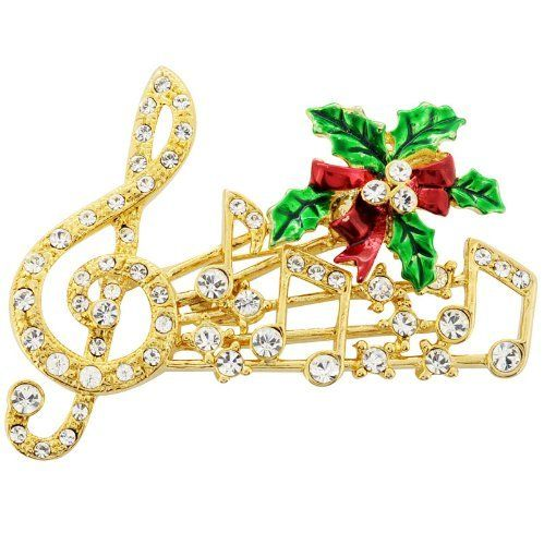 Christmas Music Note Pins Swarovski Crystal Music Pin Brooch Fantasyard. $19.99. Other color available. Exquisitely detailed designer style. Gift box available for an additional fee. Please check out through gift-wrap option. Save 50%!
