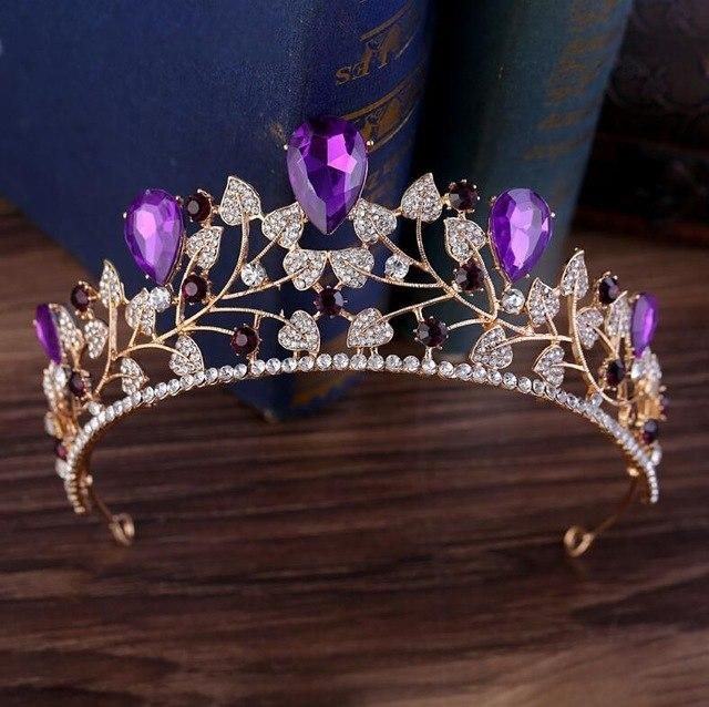 New Arrival Magnificent Blue Red Rhinestone Bridal Crown Tiaras Fashion Golden Diadem for Women Wedding Hair Accessories Jewelry #crowntiara