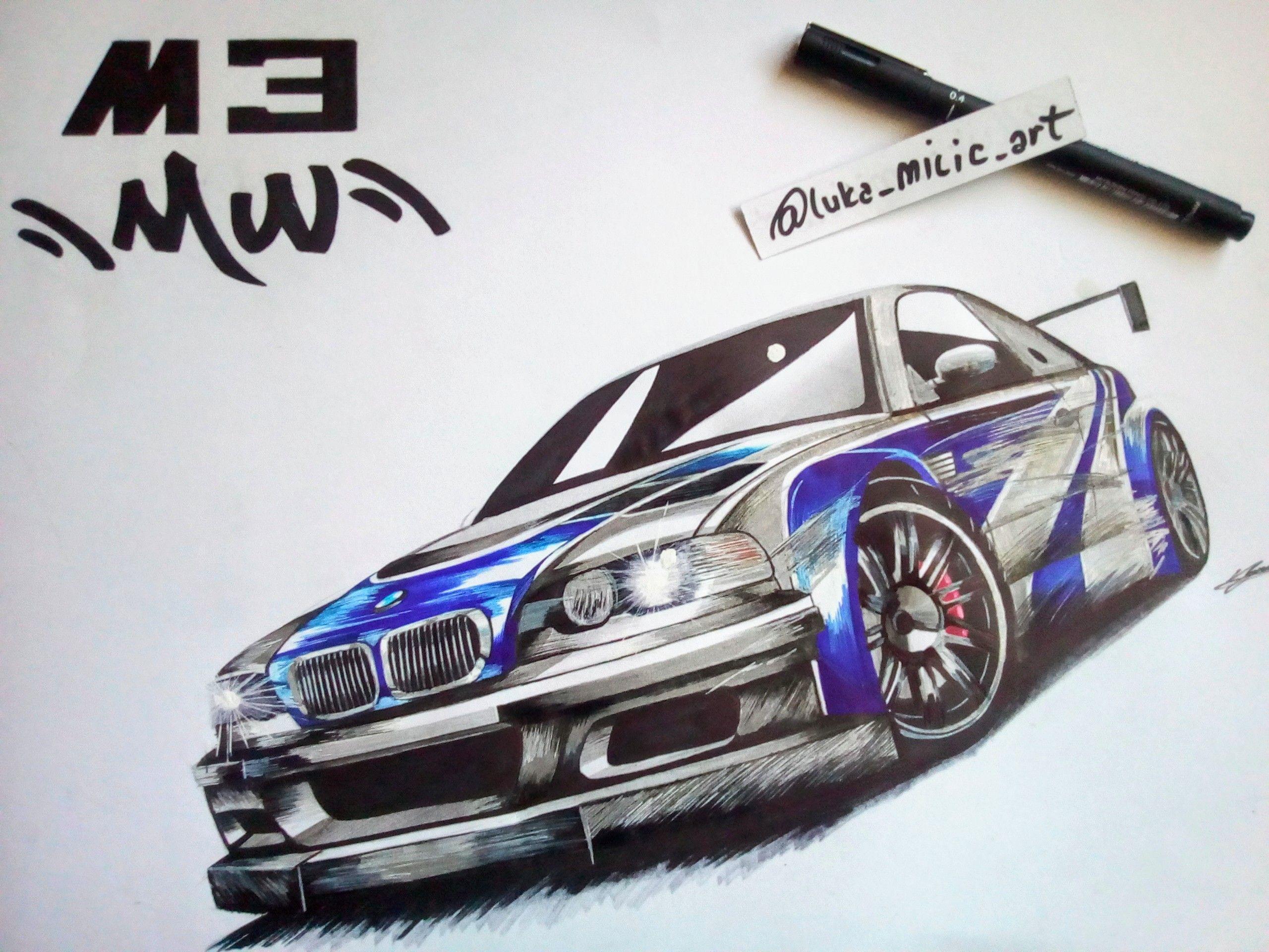 Bmw M3 Gtr Car Art Drawing Bmw M3 Gtr Car Bmw