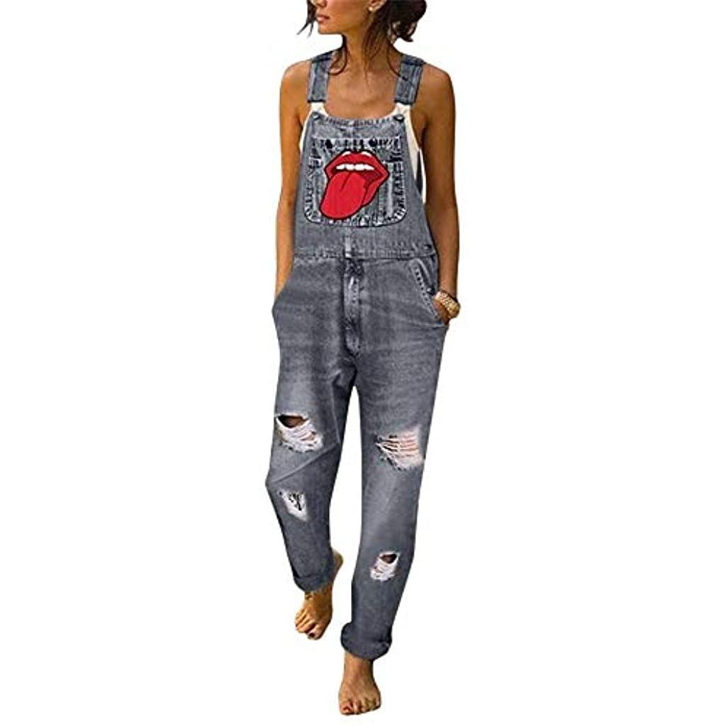 OEAK Damen Latzhosen Jeanshosen Slim Fit Denim Overall Jumpsuit Loch Lippenabdruck Jeanslatzhose Casual Denim Fraizeithose