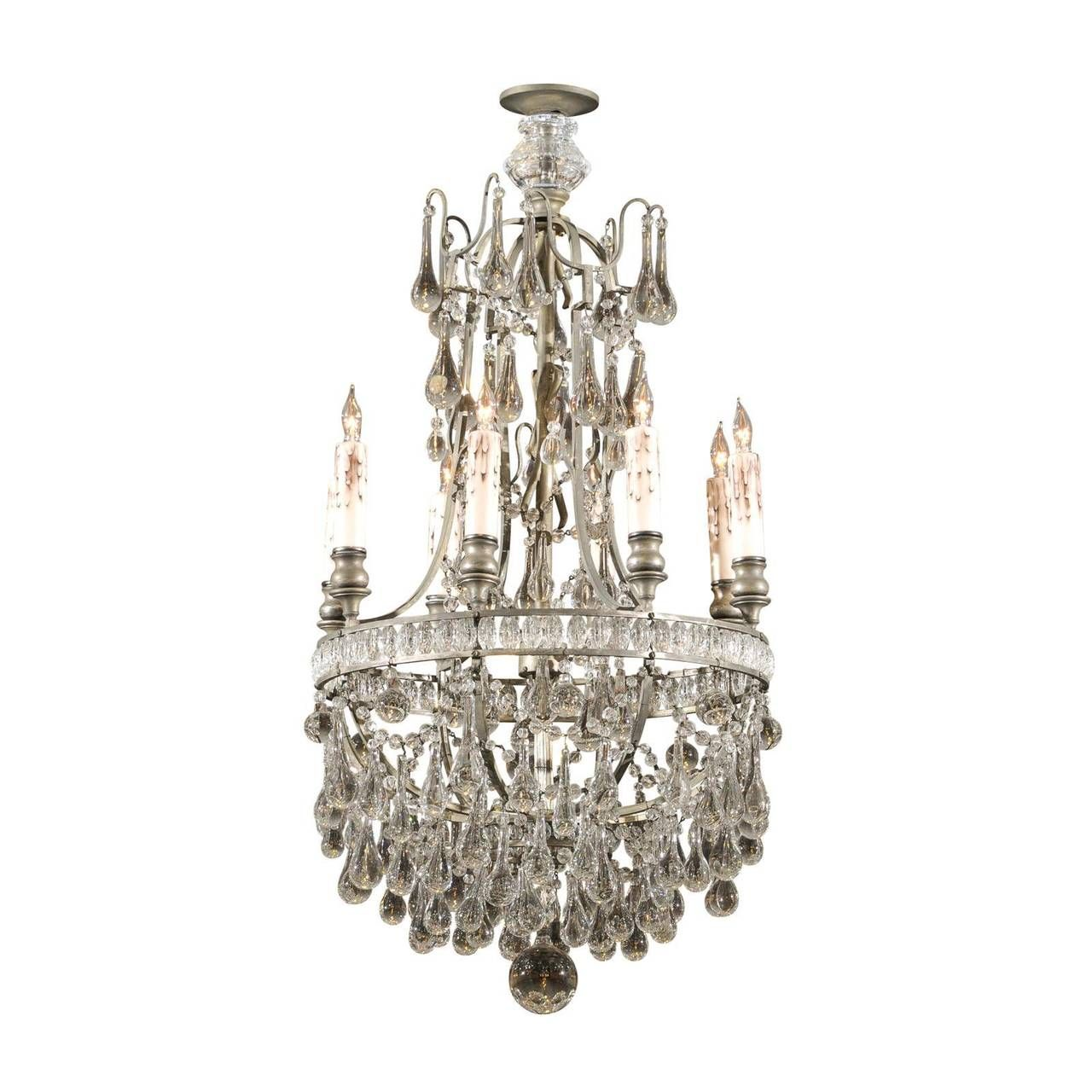 French Crystal & Bronze Basket Shaped Chandelier with Six Lights, circa 1890 | 1stdibs.com
