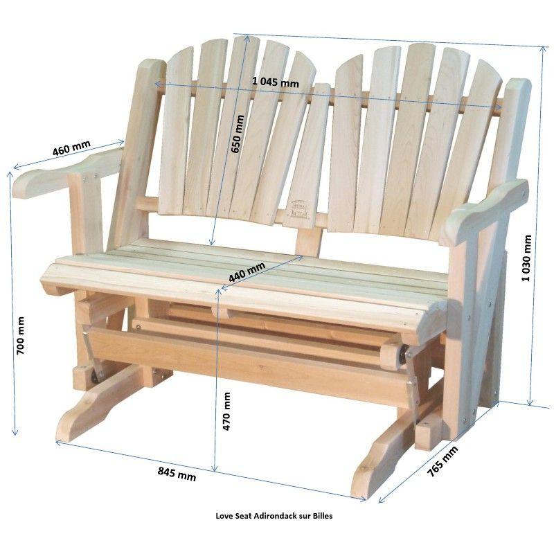 Rocking Chair Canadien Adirondack De Jardin Deux Places Sur Roulements Plans Chaise Adirondack Meubles En Bois De Palettes Rocking Chair