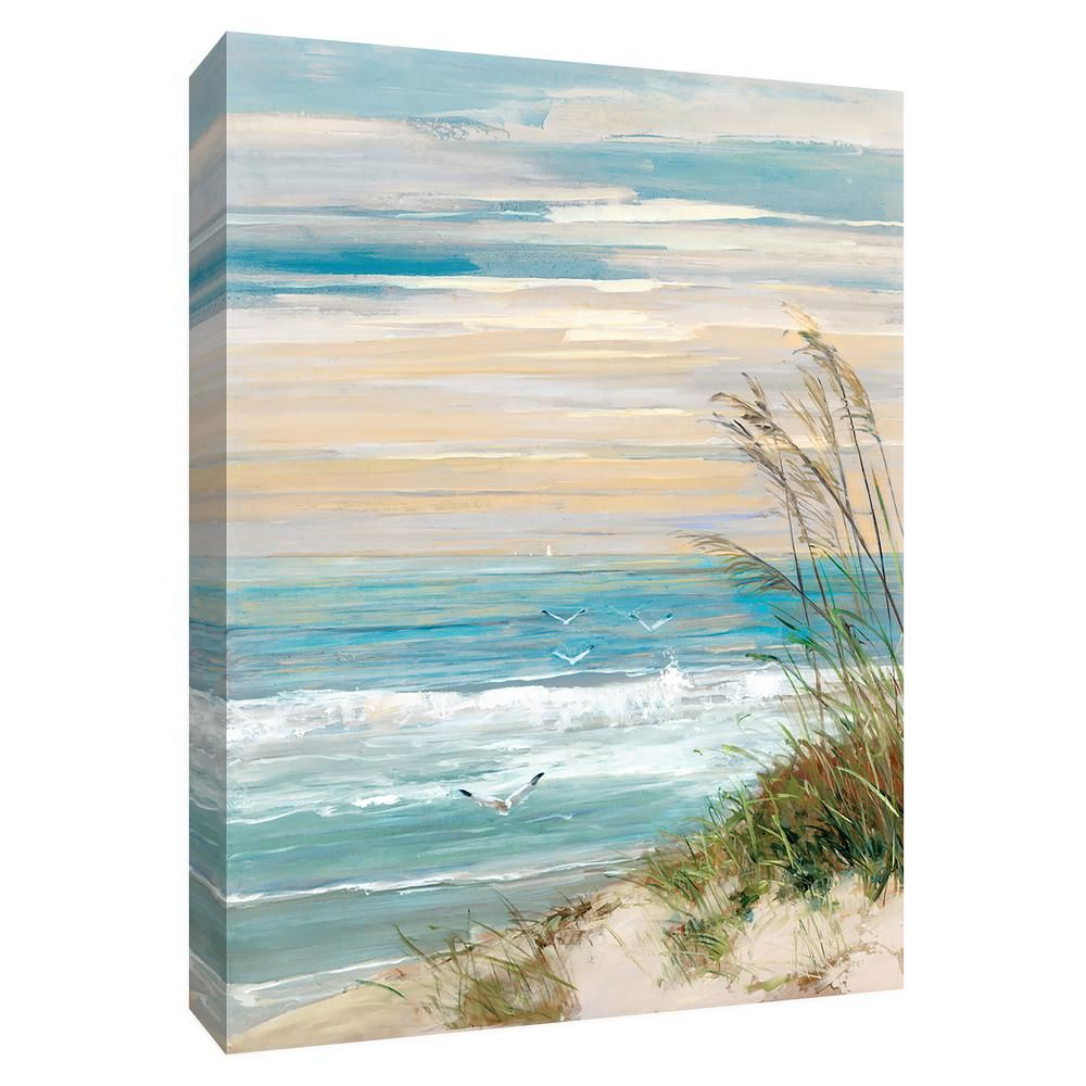 PTM Images 12 in. x 10 in. ''Beach at Dusk'' Canvas Wall Art 9-155189 - The Home Depot