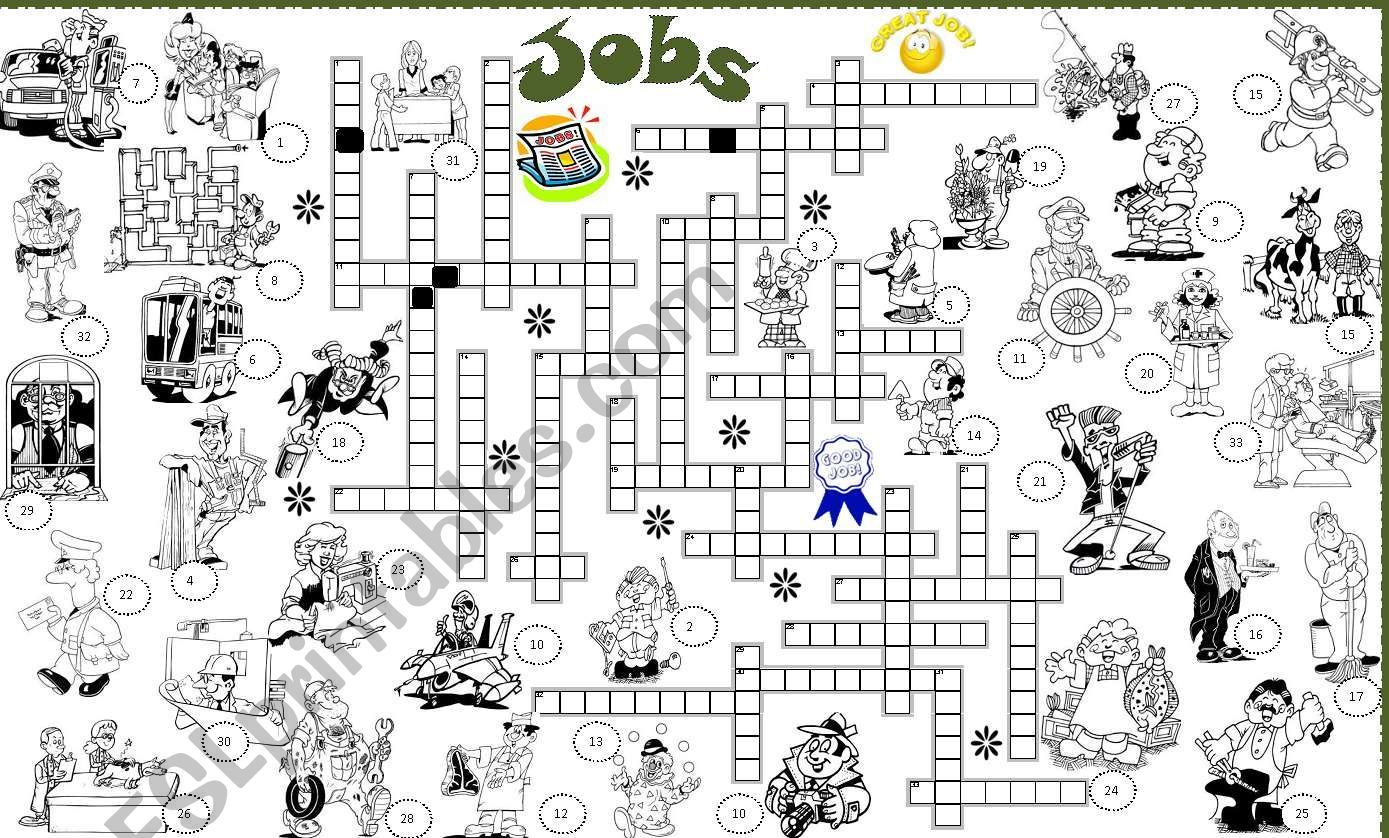 It Is A Job Crossword It Is Fully Editable And Key