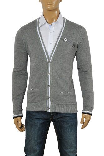 Mens Designer Clothes | HUGO BOSS Men's V-Neck Button Up Sweater ...