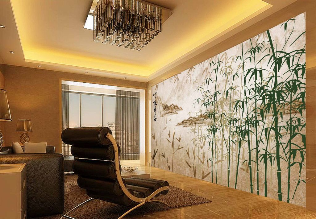 papier peint asiatique paysage avec les bambous aspect ancien en 2019 papier peint chinois. Black Bedroom Furniture Sets. Home Design Ideas