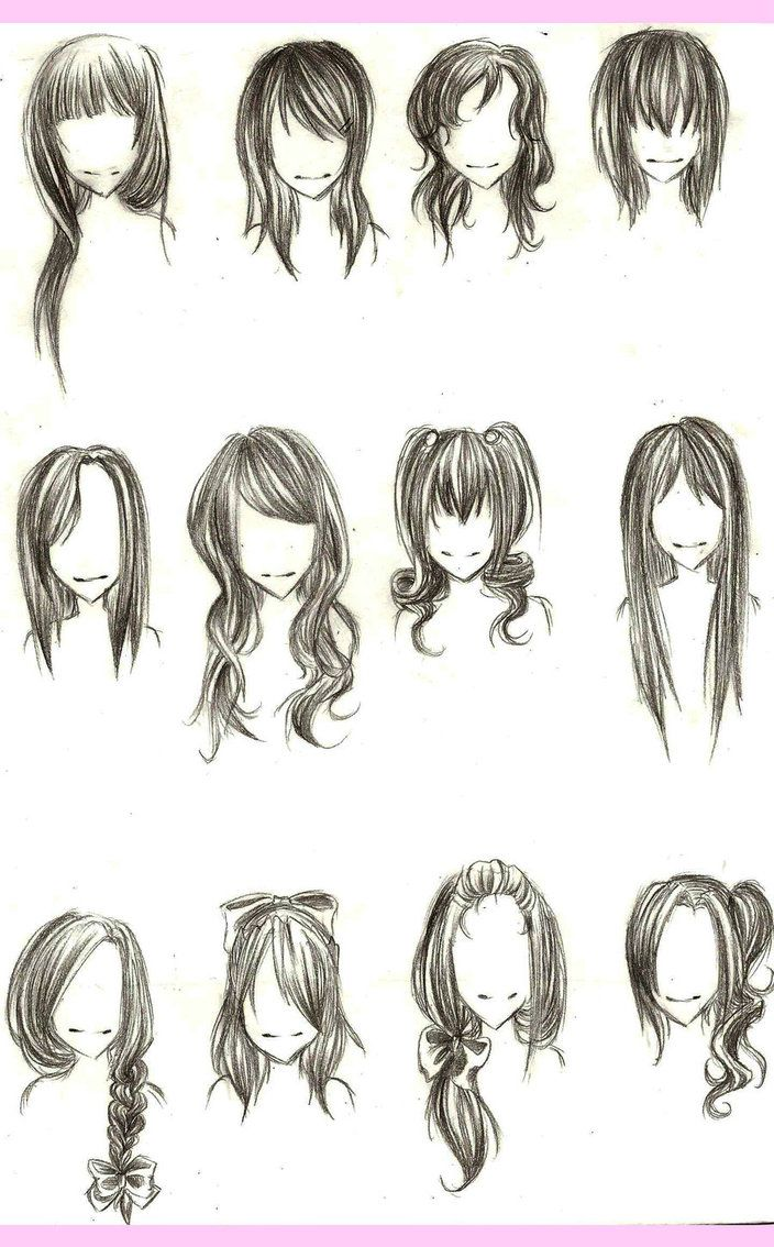 Girl Hairstyles How To Draw Hair Anime Hair Drawings