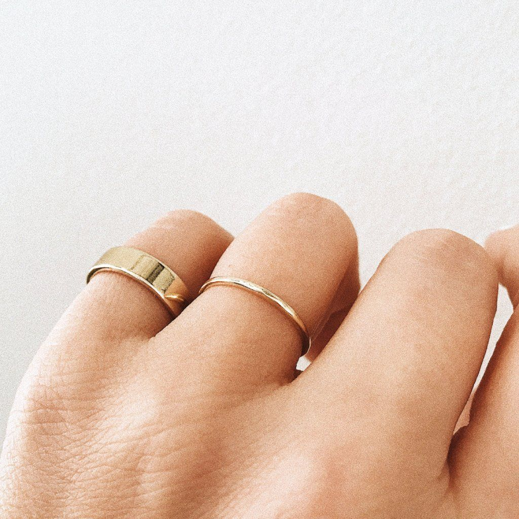 Stacking Simple Chunky Textured Ring Statement ring gift for her Dainty Hammered Gold and Sliver Band Ring