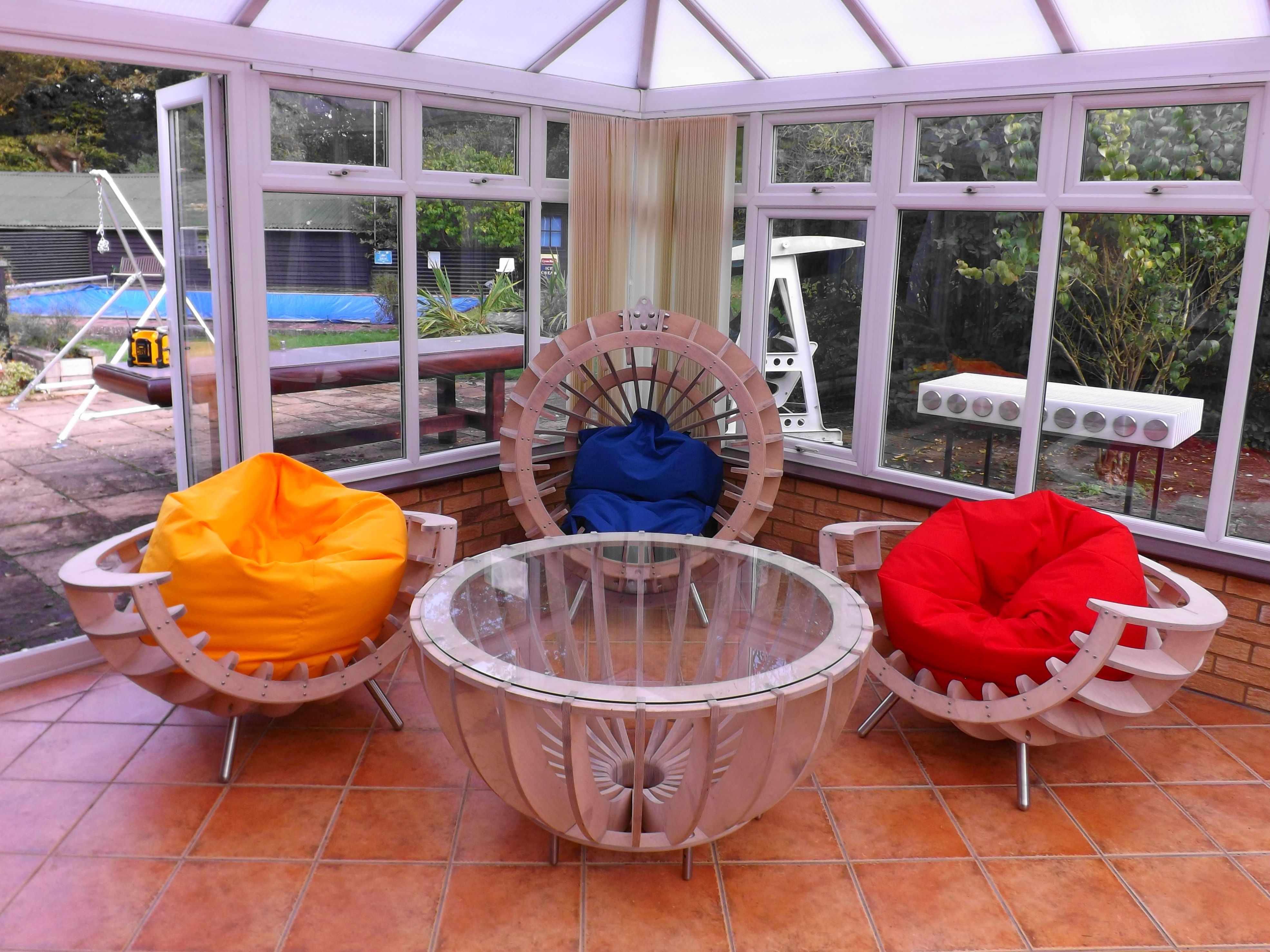 4 piece set of conservatory furniture two half sphere chairs 1 4 piece set of conservatory furniture two half sphere chairs 1 sphere chair geotapseo Image collections