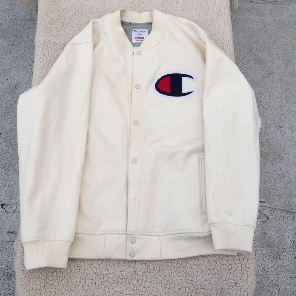 e2aaf587085e0 Champion X Supreme - White Varsity Jacket F W 2015 Unreleased  Supreme   TrackJacket