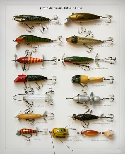 Old antique fishing lures heddon creek chub pflueger for Fly fishing lures