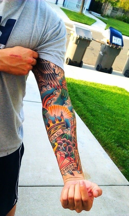 Awesome American Traditional Sleeve Diggin All That Color And Contrast Tattoo Sleeve Designs Traditional Tattoo Sleeve Tattoos