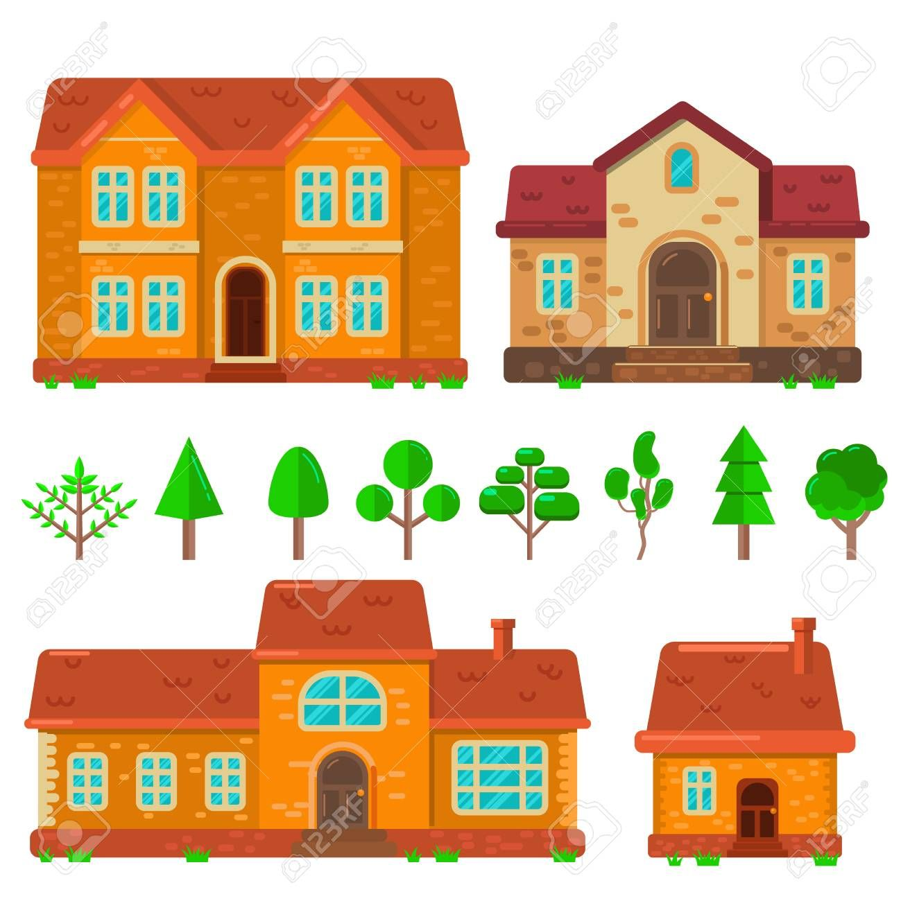 Set of houses illustrations in flat style Design element for poster banner  flyer motion design web page