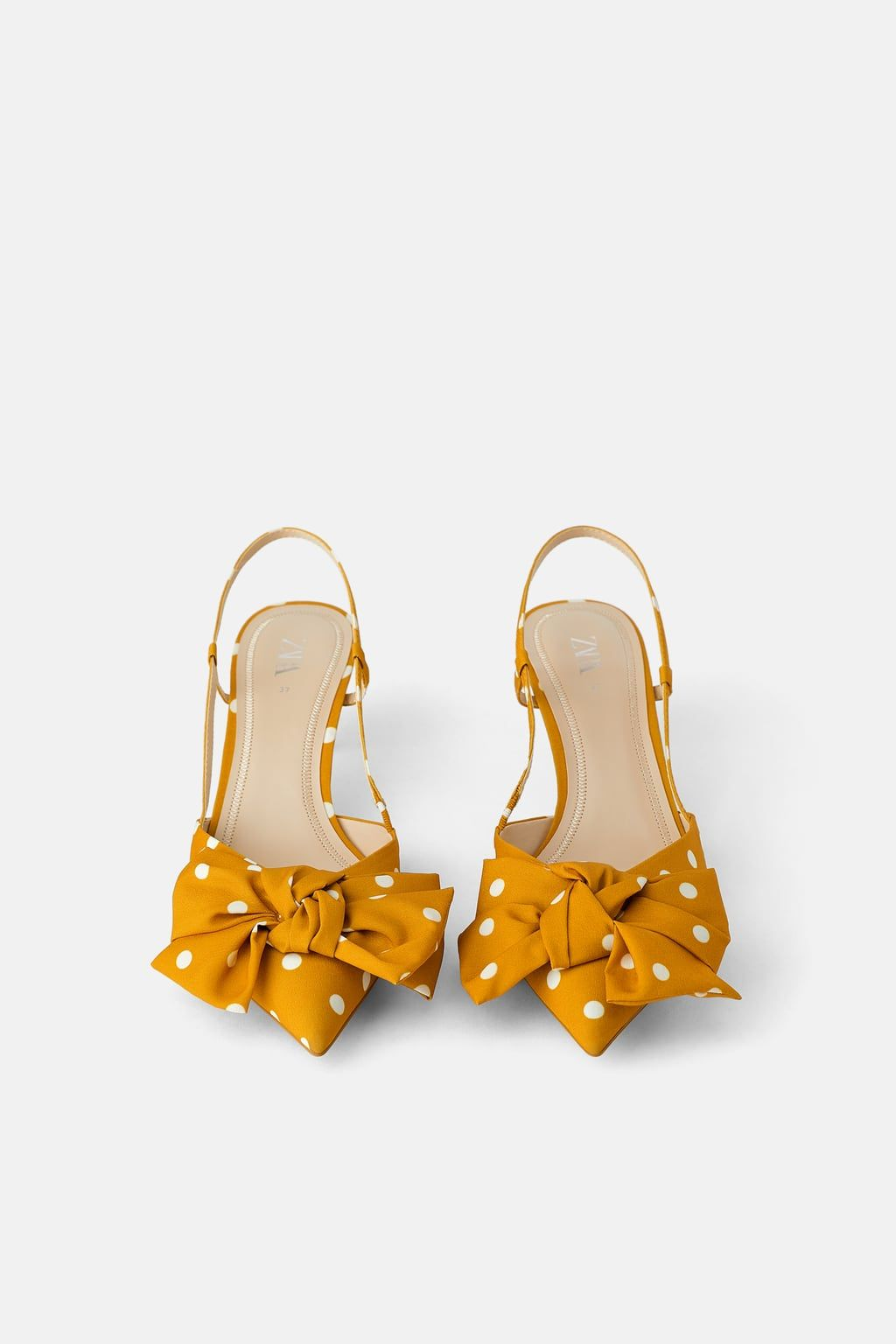 Polka Dot Kitten Heel Shoes With Bow Detail Shoes Woman Zara International Kitten Heel Shoes Heels Tie Heels