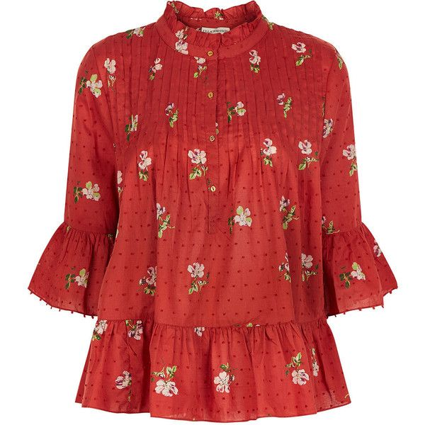 186632dfbae58 Ulla Johnson Crimson Cotton Floral Charlotte Blouse (440 BGN) ❤ liked on  Polyvore featuring. Red Peplum TopsPeplum BlousePolka Dot ...