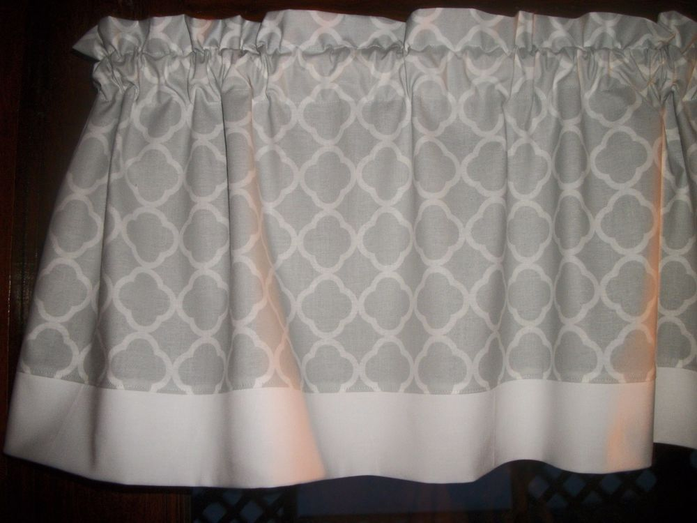 Gray White Trim Ogee Lattice Quatrefoil Fabric Window Topper
