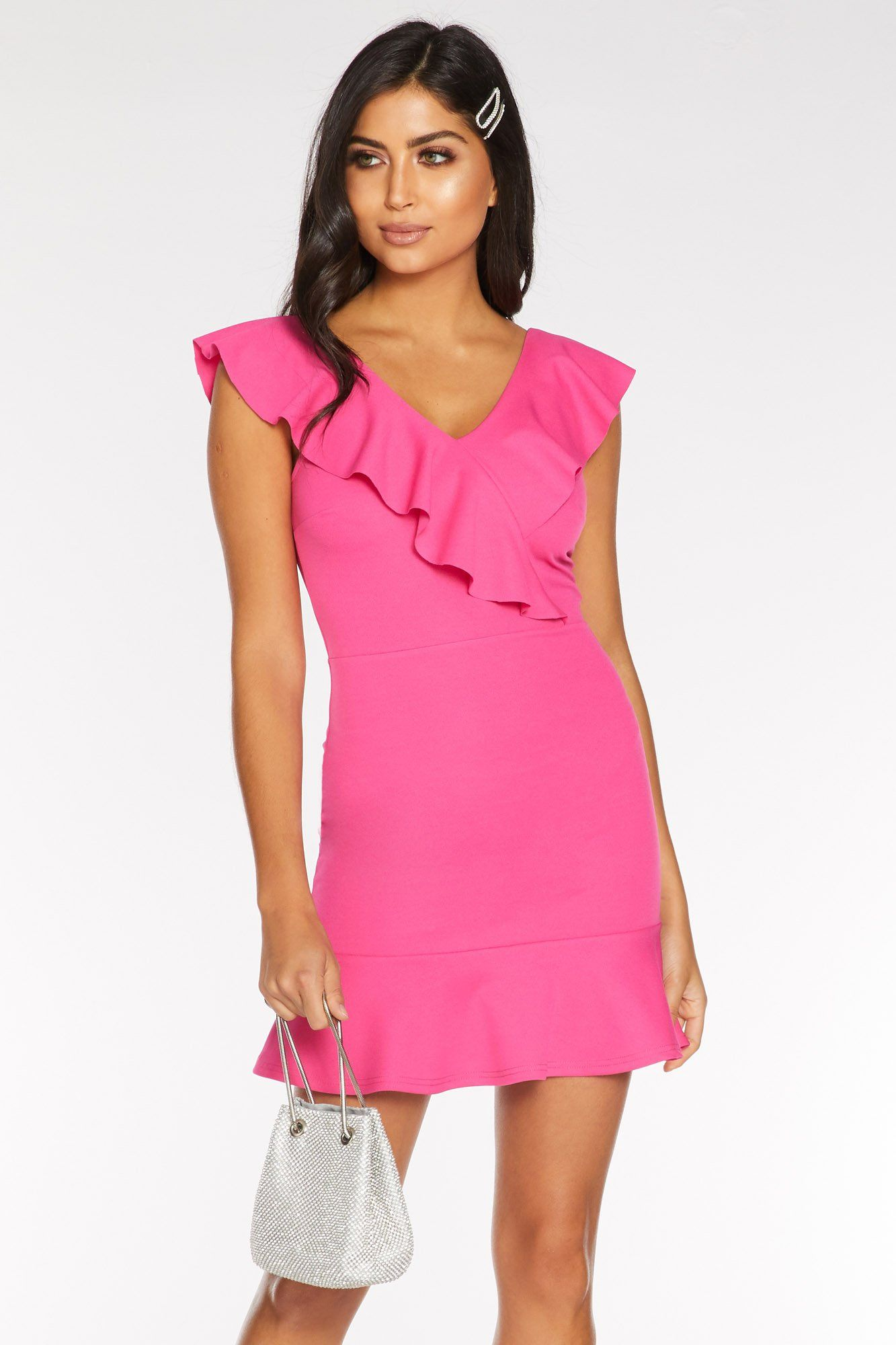 Quiz Hot Pink Frill Bodycon Dress Bodycon fashion
