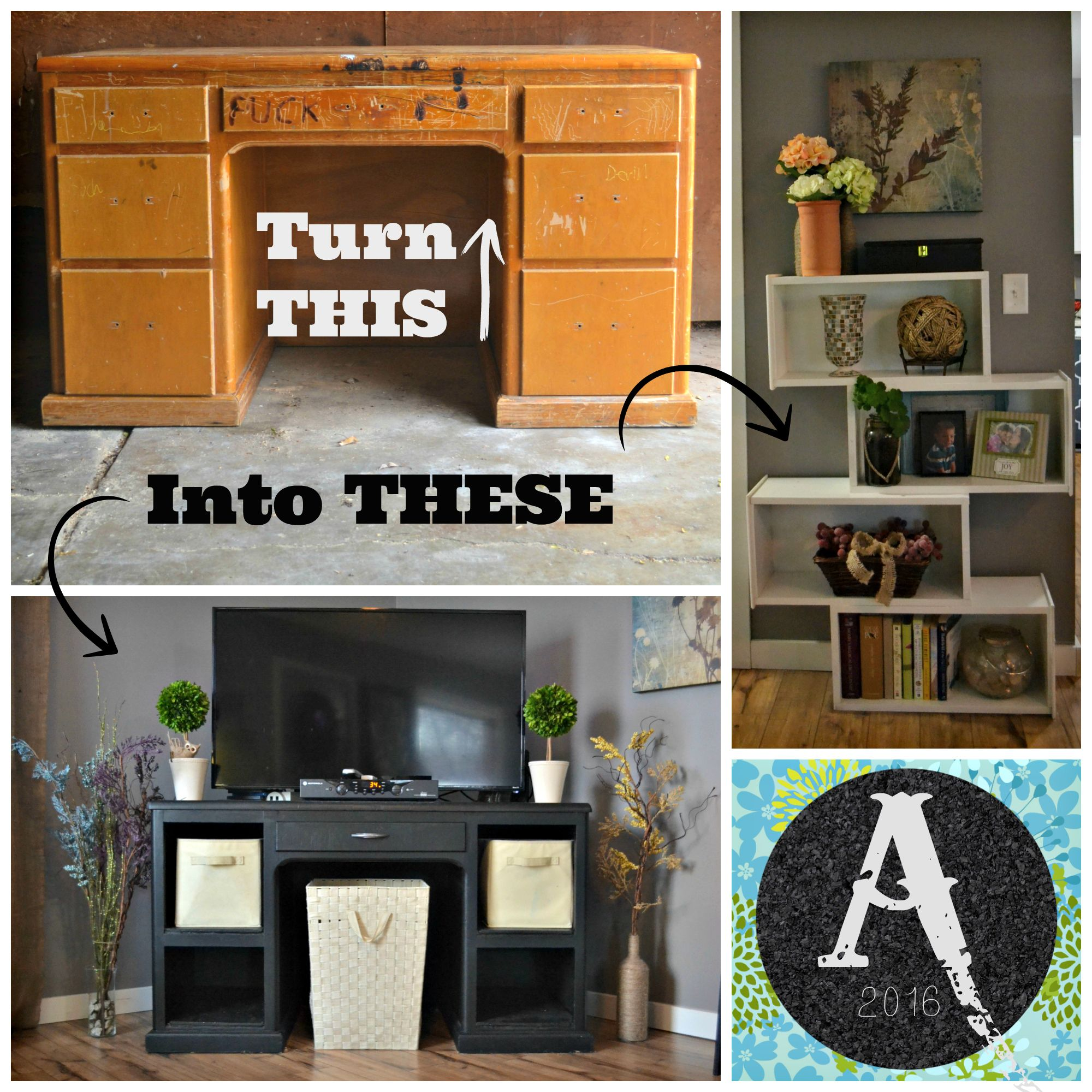 Turn An Old Desk Into An Entertainment Center And Shelf