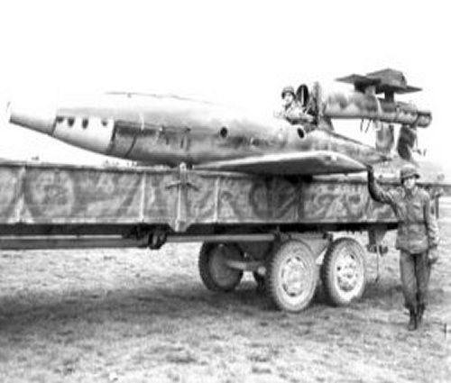 """Fieseler Fi 103R (Reichenberg) Manned V 1 Flying bomb.  In late May-June 1944, prototypes of variants of the manned weapon, known as """"Reichenberg"""", were built, with designations """"R-I"""" through """"R-IV"""".  Intended for use against shipping or heavily-defended ground targets, the piloted Fi 103 missile was developed under the code-name Reichenberg, and its progenitors were primarily Flugkapitdn Hanna Reitsch, the internationally-famous German woman pilot, and SS-Hauptsturmfdhrer Otto Skorzeny."""