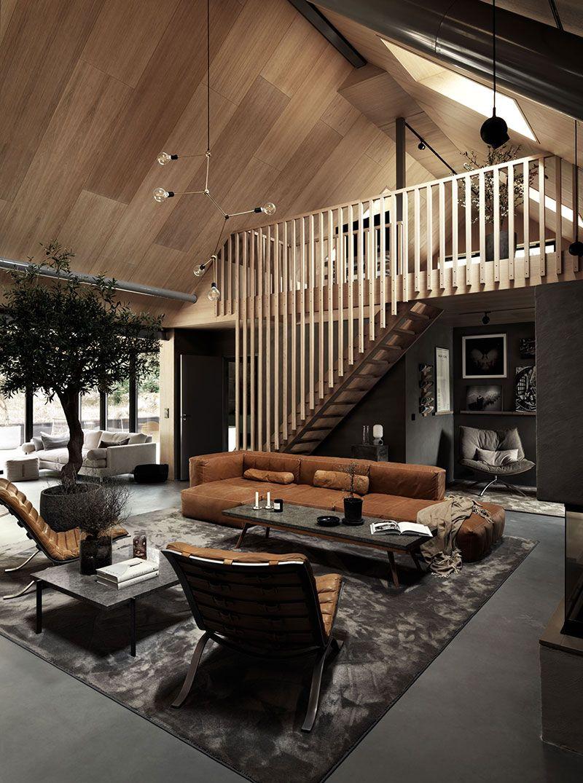 Stylish dark interiors of wooden cottage in Sweden #loftdesign