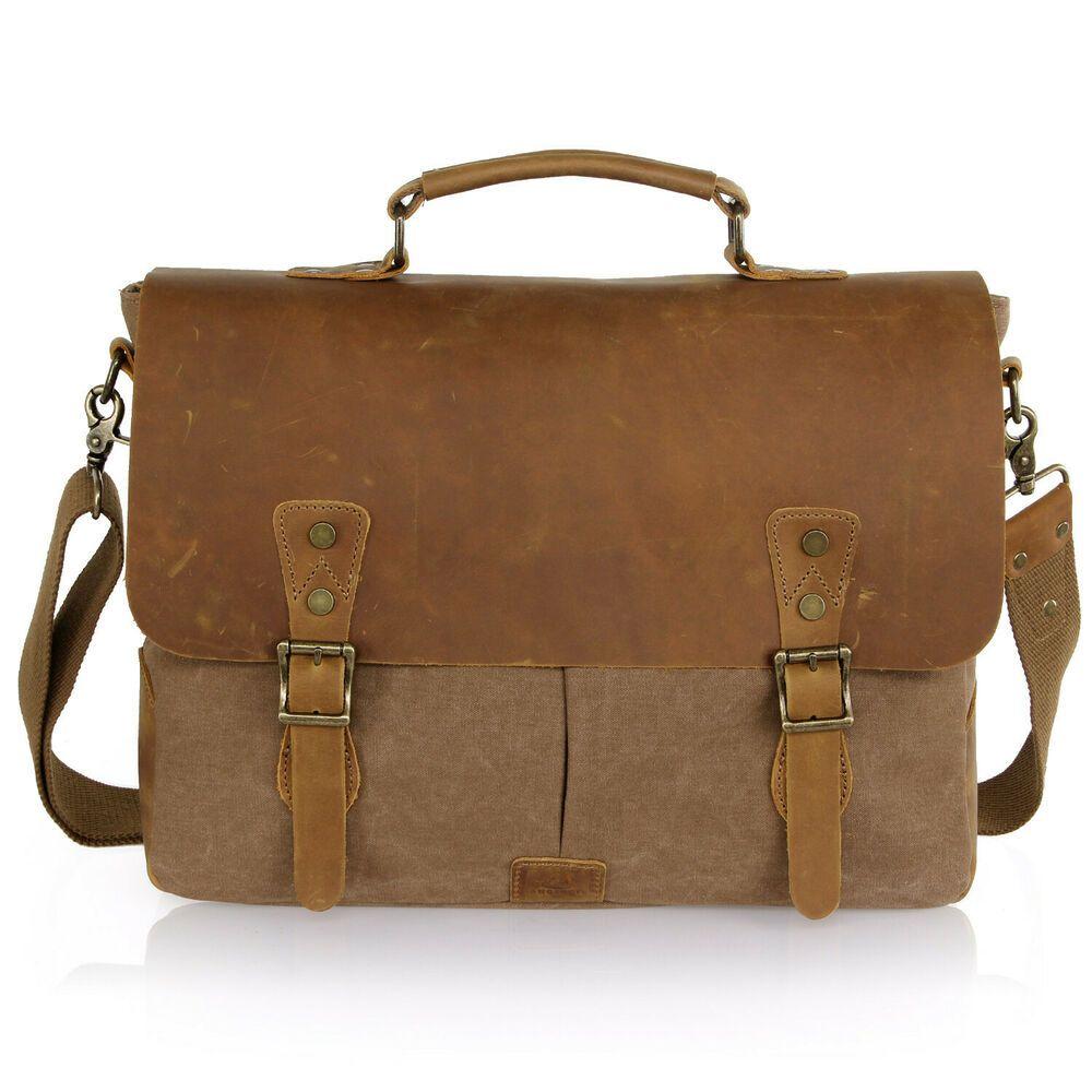 Long Lasting Leather Bag Vintage  Messenger Man Laptop Briefcase Satchel Bag