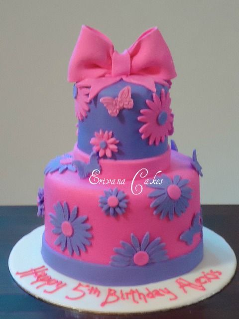 Pink And Purple Flowers And Butterfly Cake Pink Birthday Cakes