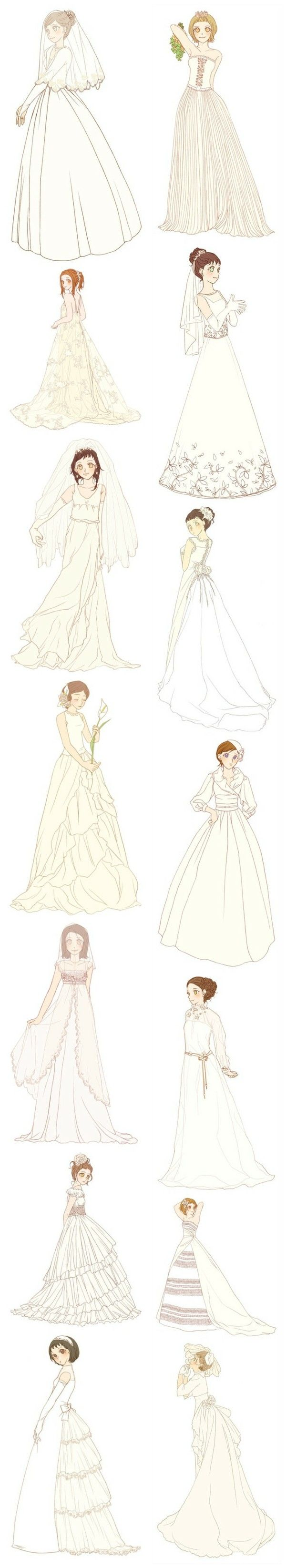 Anime Girls Wearing Wedding Dresses Gowns Reference For Artists Anime Dress Costume Design Fashion Illustration