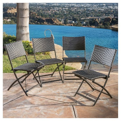 El Paso Set Of 4 Wicker Patio Folding Chairs Brown Christopher