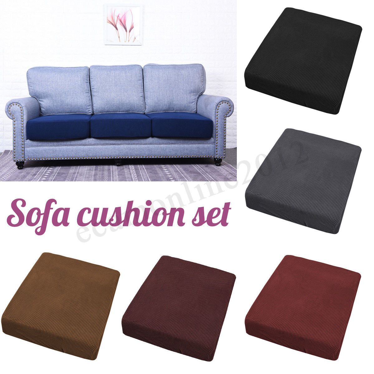 Replacement Sofa Stretchy Seat Cushion Cover Couch Slip Covers Protector Fabric Sofa Slipcover Cushions On Sofa Replacement Sofa Cushions Seat Cushion Covers