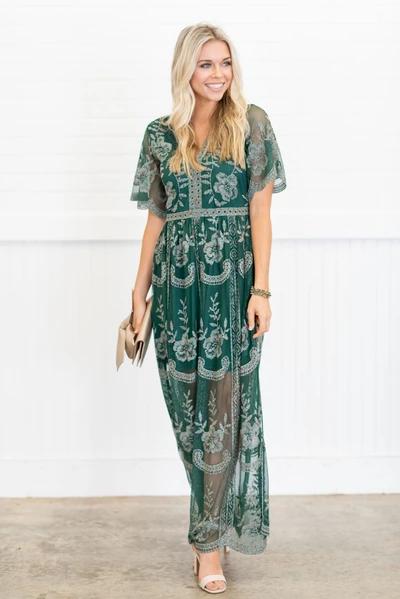 Dresses – The Mint Julep Boutique | Green lace maxi dress