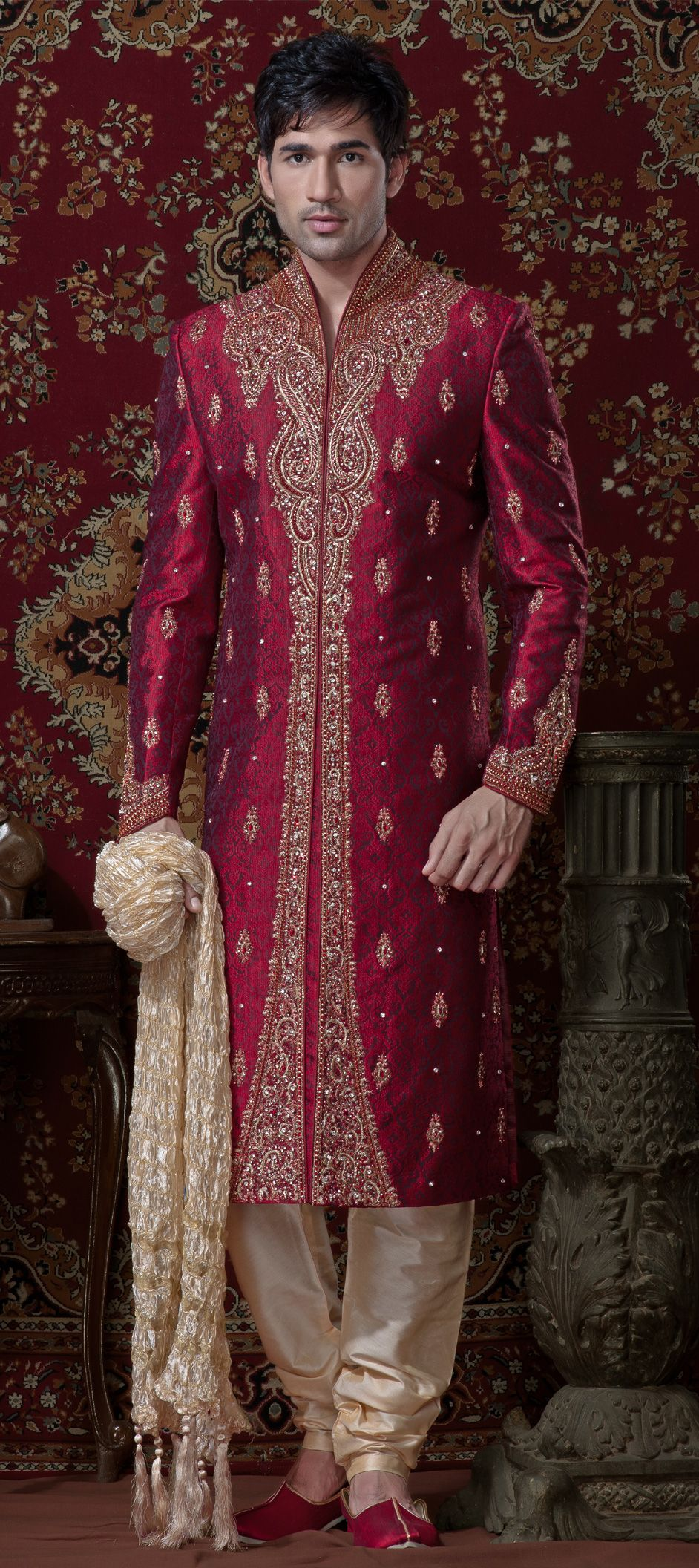 12088: Red and Maroon color family Sherwani. | Fashion fashion ...