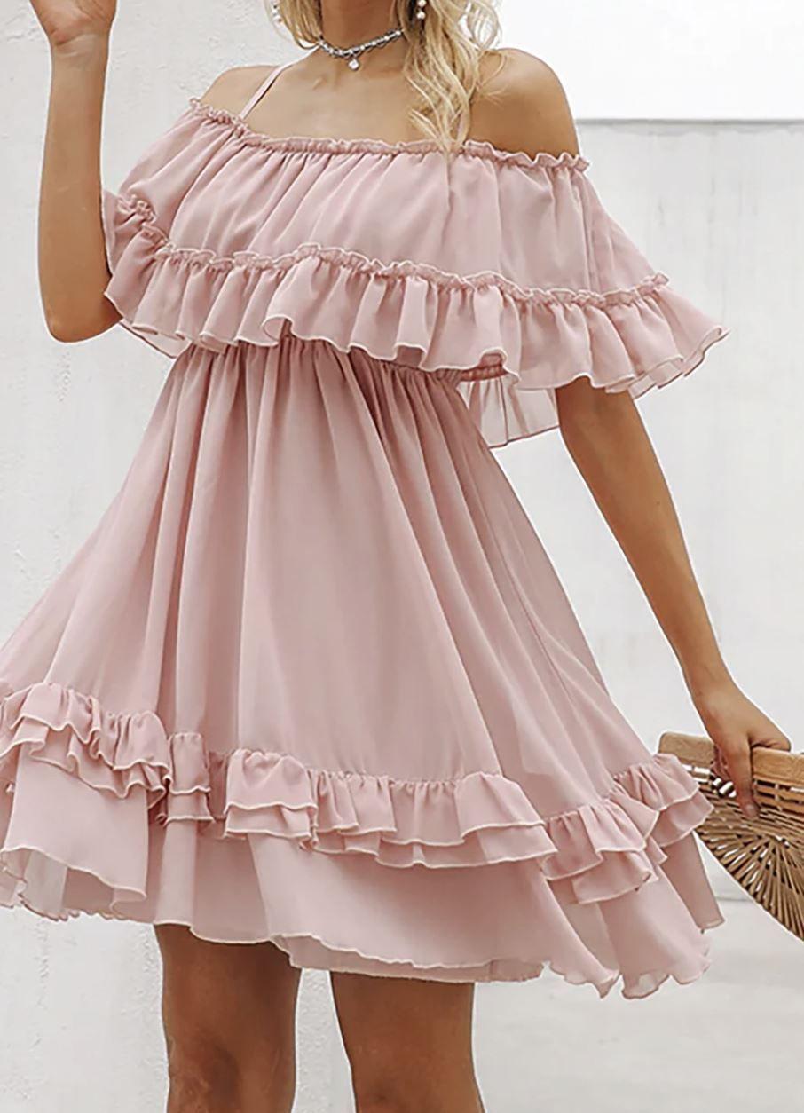 Juberry Boho Romantic Vintage Ruffle Off The Shoulder Baby Doll Chiffon Mini Dress Mini Dress Chiffon Mini Dress Dresses [ 1254 x 906 Pixel ]