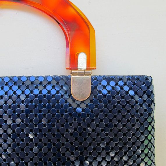 shimmery navy mesh handbag with tortoise lucite by JennyandPearl, $24.00