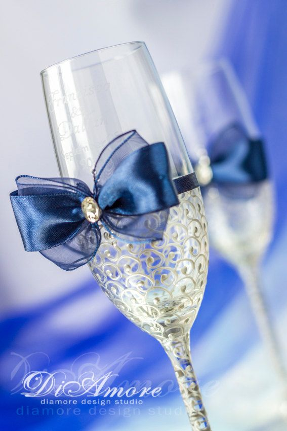 Royal Blue And Silver Wedding Champagne Glasses By DiAmoreDS
