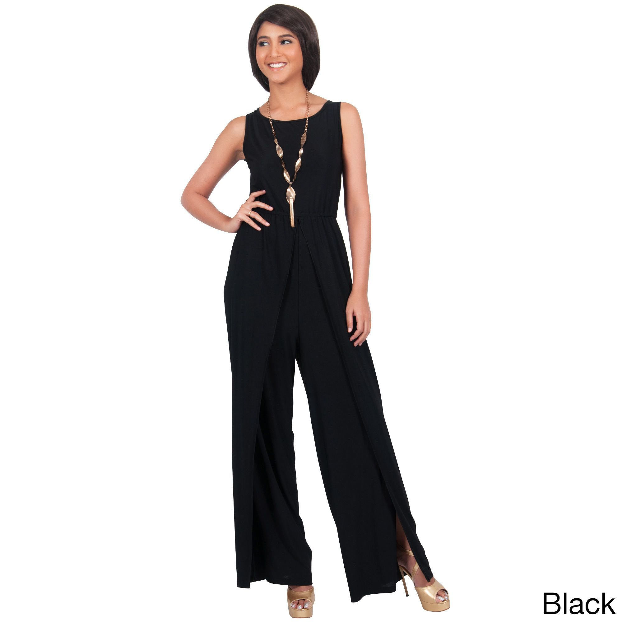 93024c192ce Global KOH KOH Women s Sleeveless Round Neckline Slimming Flared One-piece  Pantsuit with Side Slits