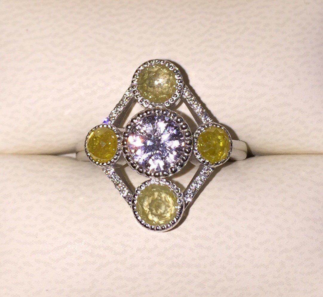 Raw Rose Cut Yellow Diamonds And Natural White Sapphire Stone Ring,  Bohemian Engagement Ring,