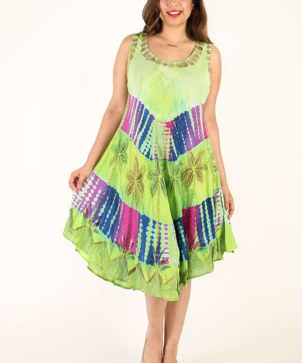 Look at this Shoreline Green Tie-Dye Sleeveless Dress - Plus on #zulily today!