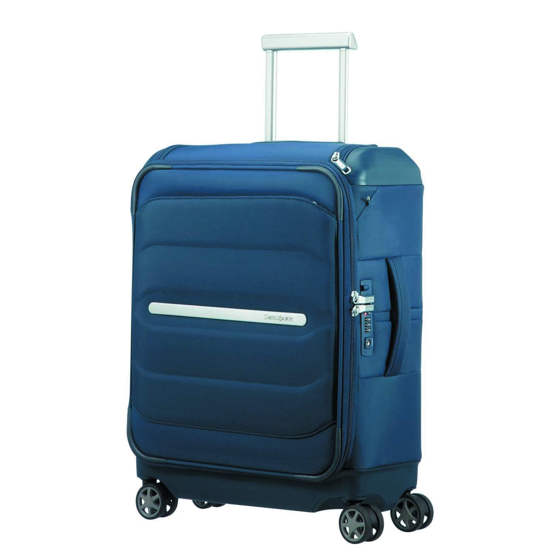 Samsonite Flux Soft Spinner 55 20 W Top Pocket Bagage Cabine 55 Cm 38 Liters Bleu Navy Blue Bagage Mode Tendance Mode
