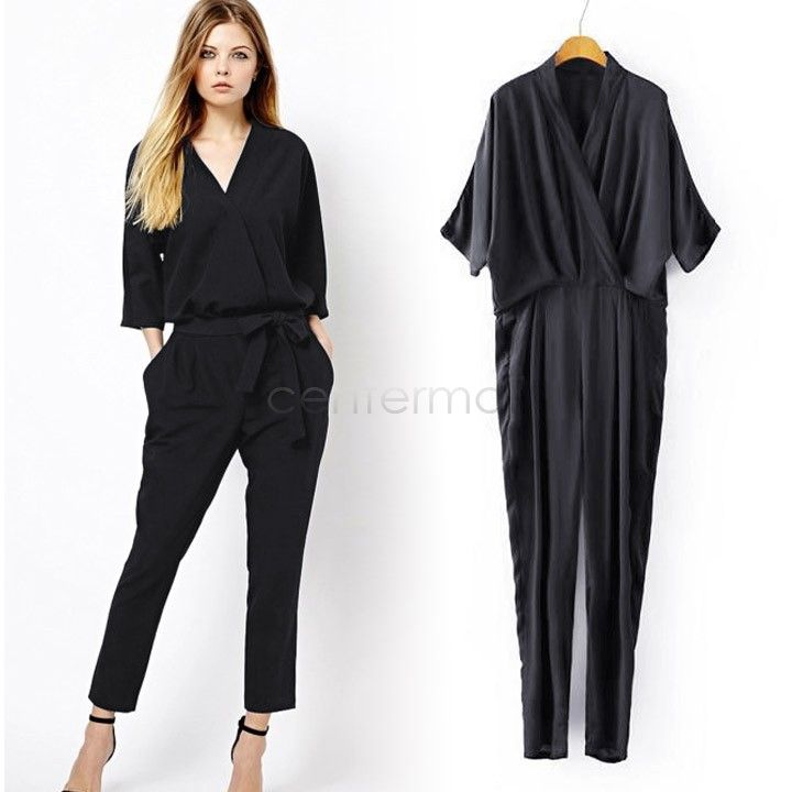 e970bba82949 9.42€ - Blue Black Casual Jumpsuit Women 3 4 Sleeve Pocket Women s Ladies  Jumpsuits And Rompers - Center-Mall