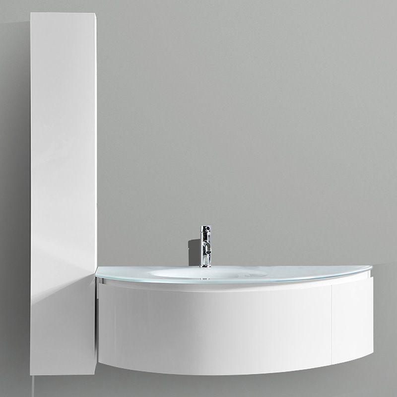 Ensemble Meuble Vasque Et Colonne Blanc Et Plan En Verre Wave1 Salledebain Bathroom Design Decoration In Meuble Vasque Vasque Meuble De Salle De Bain